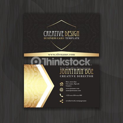 Gold And Black Horizontal Business Card Template Vector Art Thinkstock