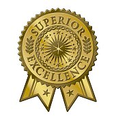 This is a vector art illustration of a gold metallic certificate sticker seal. This graphic is for superior excellence in learning. Jazz up any award or certificate with this art. This is a classic lo
