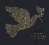 Merry Christmas Happy New Year 2017 greeting card background. Linear dove bird with monogram decoration, ornaments and leaves. EPS10 vector.