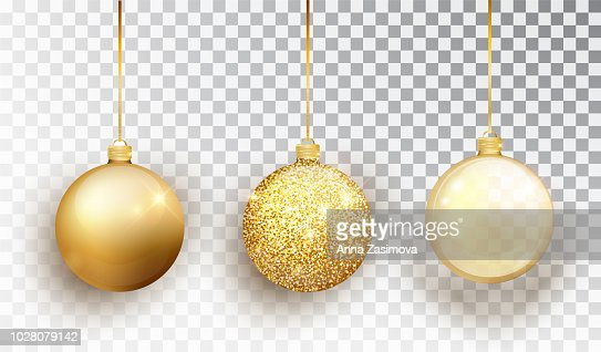 Gold Christmas tree toy set isolated on a transparent background. Stocking Christmas decorations. Vector object for christmas design, mockup. Vector realistic object Illustration 10 EPS. : Arte vetorial