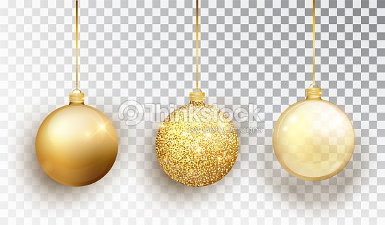 Gold Christmas tree toy set isolated on a transparent background. Stocking Christmas decorations. Vector object for christmas design, mockup. Vector realistic object Illustration 10 EPS. : stock vector