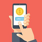 Gold coin and donate button on smartphone screen. Hand holds smartphone, finger touches screen. Modern charity, donation concept for web banner, web site, infographics. Flat design vector illustration