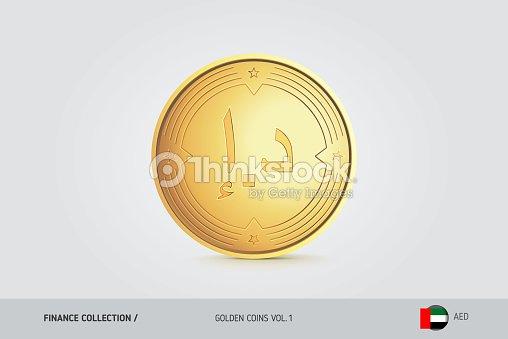 Gold Coin Realistic Golden United Arab Emirates Dirham Coin Isolated