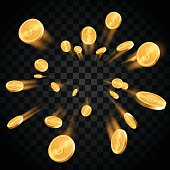 Gold coins explosion in vector