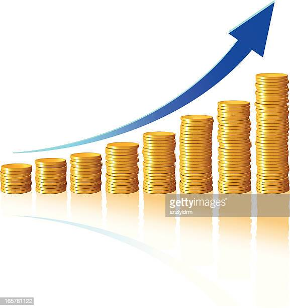 Gold coins forming a bar graph with blue arrow
