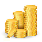 A stack of realistic gold coins on a white background. Vector illustration.
