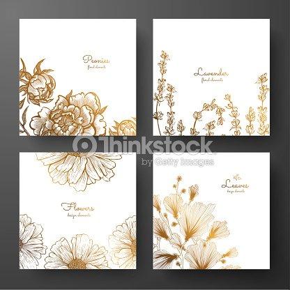 Goldsammlung Von Karten Design Mit Pfingstrosen Lavendel Kamille Und