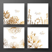 Gold collection of cards design with peonies, lavender, chamomile and leaves of ginkgo biloba. Template frame for birthday and greeting card, wedding invitation, flyer, package design.