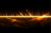 Gold colored audio waves, abstract technology background. (Used clipping mask)