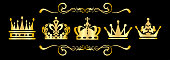 Gold Crown on black background, vector