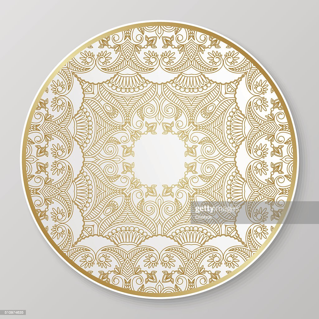 Gold decorative plate.  sc 1 st  Thinkstock & Gold Decorative Plate Vector Art | Thinkstock