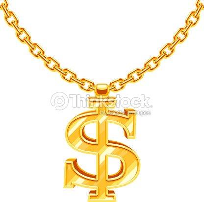 Gold Dollar Symbol On Golden Chain Vector Hip Hop Rap Stock