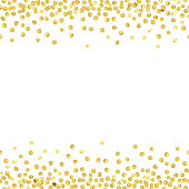 Abstract pattern of random gold dots with empty center for text on white background.  Vector illustration.
