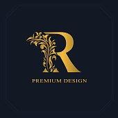 Vector illustration of Gold Elegant letter R. Graceful style. Calligraphic beautiful sign. Vintage drawn emblem for book design, brand name, business card, Restaurant, Boutique, Hotel