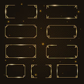Vector golden light rectangle frame, shining rectangle banner set with lights effects, isolated on dark, black transparent background. Vector illustration, eps 10.