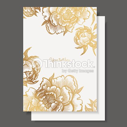 Gold flowers and leaves of peonies vector elements for design gold flowers and leaves of peonies vector elements for design template ornate decor for invitations wedding greeting cards certificate labels stopboris Image collections