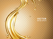 gold fluid flow element, can be used as special effect, 3d illustration