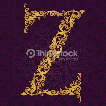 Gold Font Type Letter Z Uppercase
