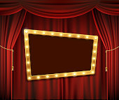 Gold frame with light bulbs on the red theatrical curtain. Stock vector illustration.