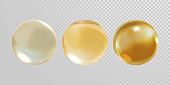 Gold glass ball isolated on transparent background. 3D realistic vector golden oil vitamin E pill capsule crystal glass ball texture
