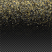 Gold glitter falling confetti on a dark checkered background. Golden grainy abstract texture