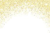 Gold glitter background. Golden sparkles on white background. Vector illustration.