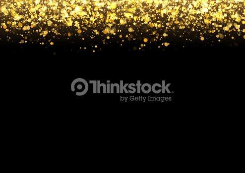Gold Glitter Texture Irregular Confetti Border On A Black Background