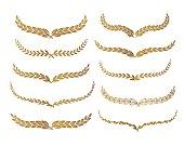 Gold laurel set vector illustration