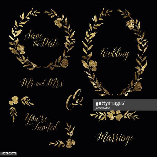 Gold Leaf Wedding Invitation Design Elements