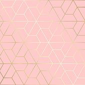 (illustration) gold line background, abstract artistic of geometric background