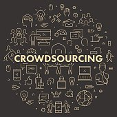 Gold line web banner for crowdsourcing. Modern linear concept for crowdfunding.