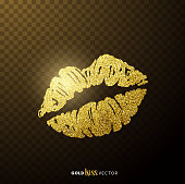 Gold and glittering glamorous kissing shaped lips.
