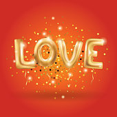 Gold letter love balloons on red. I love you. Valentines day card. Gold background for flyer, poster, sign, banner, web header. Abstract golden background text, type, letters. Gold blur background