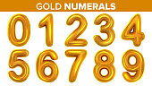 Gold Numerals Set Vector. Golden Yellow Metal Letter. Number 0 1 2 3 4 5 6 7 8 9. Alphabet Font. Typography Design Element. Party Background. Symbol. Metallic 3D Realistic Illustration