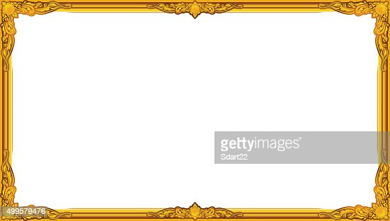 Gold Photo Frame Floral For Picture Vector Thai Frame Style Vector