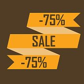 Poster of a yellow ribbon for discounts on a dark brown background