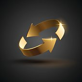 Gold rotation arrows in vector