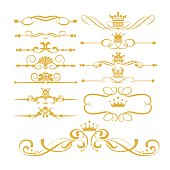 Gold royal borders and swirls vector set