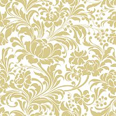 Pale gold seamless floral vector background. One section.