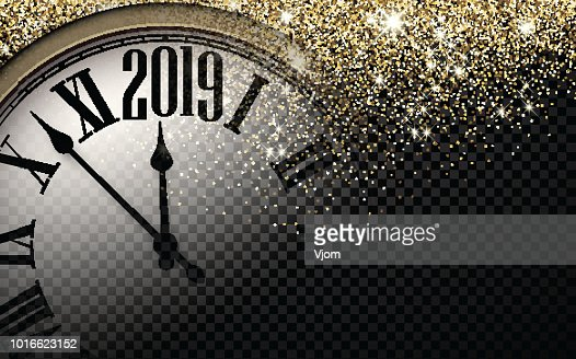 Gold shiny 2019 New Year background with clock. : Vector Art