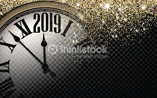 Gold shiny 2019 New Year background with clock. : stock vector