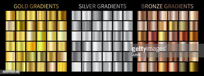 Gold, silver, bronze gradients : Vector Art