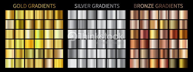 Gold, silver, bronze gradients : stock vector