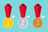 Gold, silver, bronze medal with red ribbon. 1st, 2nd and 3rd places. First, second, third place. Award winner trophy . Golden badge for achievement. Vector flat design. Isolated on background.
