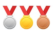 Vector gold, silver, bronze medals