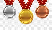 Realistic medal set. Gold bronze and silver medals with red ribbons isolated on transparent background, award vector collection
