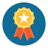 Gold Star Quality Badge with red ribbon, Vector Illustration