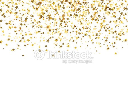 Gold starfall on white background. Abstract background. : stock vector
