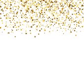 Golden starfall on white background. Abstract background. Glitter pattern for banner. Vector illustration.