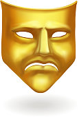 Gold theatrical sad mask. Tragedy icon symbol.